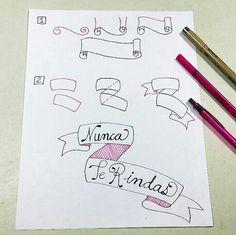 Video tutorial paso a paso de como dibujar un Banner o Cinta para Texto  #BulletJournal #dibujo #dibujandocondelein #BuJo