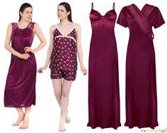 1604e89d81 New womens girls pyjama set ladies nightwear nighty robe gown 4pc set gift