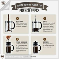 Wanna brew your perfect cup of coffee using that French Press? This picture will show you how. Coffee Uses, Coffee Love, Best Coffee, Coffee Break, Coffee Shop, Coffee Bullet, How To Make Coffee, Making Coffee, Perfect Cup