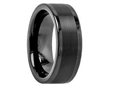 Avinon Black Tungsten Carbide Wedding Band with Brushed Center 8mm - Select Wedding Rings