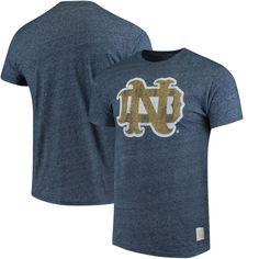 Notre Dame Fighting Irish Original Retro Brand Interlocking School Logo Mock Twist T-Shirt - Navy