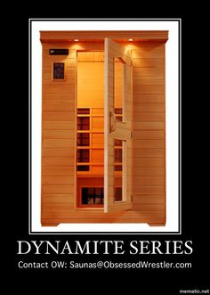 """Meet the 2-Person Infrared 'Dynamite Series' by Obsessed Wrestler  Exterior Dimensions: Width 49"""" x Depth 46"""" x Height 75"""" (dimensions including roof eave)  Saunas@ObsessedWrestler.com  Power consumption: This sauna uses a regular 110 V, 15-amp  household outlet. No special wiring is required.   #infrared #saunas  #OWSaunas #TestedApproved #HealthyLiving #SmartLiving  #Detoxification #Detox #HomeUse #PerfectGift"""