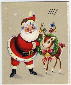 Vintage santa and reindeer card Christmas Card Images, Vintage Christmas Images, Christmas Graphics, Old Christmas, Retro Christmas, Vintage Holiday, Christmas Pictures, Christmas Greetings, Reindeer Christmas