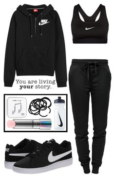 """I'll be waitin' for you"" by carolrnunes ❤ liked on Polyvore featuring T By Alexander Wang, NIKE, H&M, MAC Cosmetics, Happy Plugs and WALL"