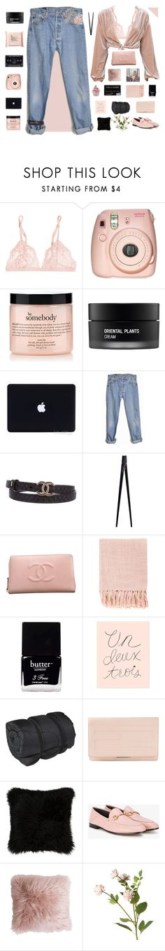 """""""KEEP IT REAL"""" by queen-bellaa ❤ liked on Polyvore featuring The Body Shop, La Perla, Fujifilm, philosophy, Koh Gen Do, Levi's, Chanel, CB2, Disney and Surya"""