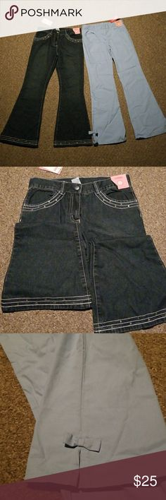 Gymboree size 10 pants NWT 2 pair of Gymboree pants kids size 10. Denim jeans with rhinestone and embroidery accents around pockets and legs. Light blue cotton pants with foe accents at ankle. Both New with tags! Gymboree Bottoms Jeans