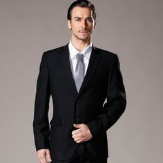 Slim suits men's business wear no pattern plain black jersey dress $40.00