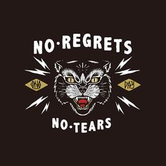 OneDay on Behance, no regrets, no tears, typography, white, black, gold, red, handtype, illustration, cat, contino, lightning, detail