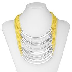 Neon Multi Layer Tube Necklace Chunky Cord