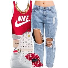 A fashion look from July 2014 featuring NIKE tops, NIKE shoes and MCM backpacks. Browse and shop related looks.
