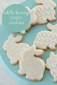 Celebrate the Easter holiday this year with these elegant White Bunny Sugar Cookies These sugar cookies are decorated with pure white icing and decorating sugars for a simply beautiful Spring dessert. Or serve these sugar cookies as a baby shower dessert. Fancy Cookies, Iced Cookies, Easter Cookies, Easter Treats, Cupcake Cookies, Sugar Cookies, Cupcakes, Baby Shower Desserts, Cakepops