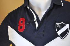 Tommy Hilfiger Para Hombre Custom Fit Camisa Polo Azul Marino Blanco Rojo superior tamaño pequeño