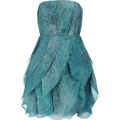 Halston Heritage Printed silk-organza mini dress (430 BAM) ❤ liked on Polyvore featuring dresses, teal, teal dress, layered dress, fitted dresses, teal green dress and short blue dresses