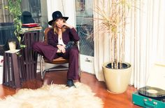 Erin Wasson for the Coveteur | Pinstripe Pant Suit + Oversized Fedora