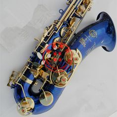 2017  TOP musical instruments Selmer tenor sax musical instrument B flat tenor sax blue gold key shipping #Affiliate