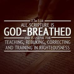 """""""All Scripture is given by inspiration of God, and is profitable for doctrine, for reproof, for correction, for instruction in righteousness, that the man of God may be complete, thoroughly equipped for every good work."""" II Timothy 3:16-17 NKJV"""