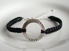 Custom Color Silver Love Charm Bracelet, Love Karma Ring Adjustable Square Knot Friendship Macrame Bracelet by Purple Wyvern Jewels