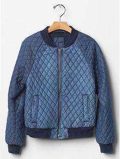Quilted denim bomber jacket