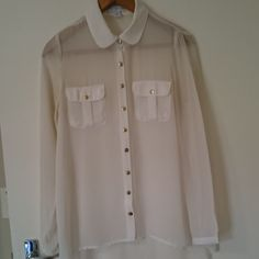 Cotton On sheer white blouse with gold buttons. Save The Planet, Selling Online, Extra Money, Second Hand Clothes, Blouse, Sweaters, Stuff To Buy, Shopping, Tops