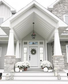 36 Pretty Farmhouse Front Porch Steps Design Ideas - Home: Living color Dream House Exterior, Exterior House Colors, Exterior Design, Stone On House Exterior, Stone Front House, Stone House Exteriors, White Siding House, Black Trim Exterior House, Grey House White Trim