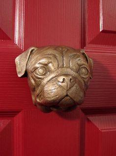 Solid Brass Dog door knockers, cat door knocker and paw door bell Pugs, Pug Puppies, Pet Dogs, Unique Door Bells, Porches, Door Knockers Unique, Aggressive Dog, Wild Dogs, Pug Love