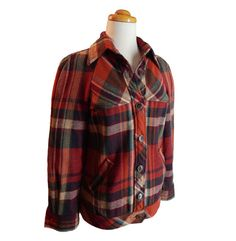 Late 1940s - early 1950s vintage orange plaid jacket from BONWIT TELLER. $64.