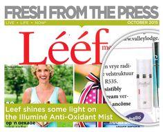 Leef Magazine shines some light on the Illumine Anti- Oxidant Mist Live Life, Mists, Magazine, Fresh, Shit Happens, Magazines, Quote Life, Warehouse, Newspaper