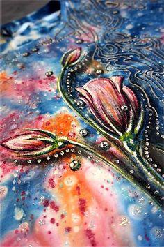 zeiko / kvetinkové tričko Hand Painted Dress, Watercolor Tattoo, Textiles, Tattoos, Painting, Tatuajes, Tattoo, Painting Art, Paintings