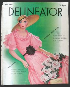 1933 Delineator Magazine Cover ~ Lady With Pink Dress  Cover by D. Rhys
