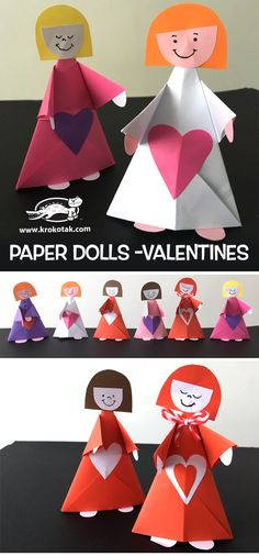 Check out the webpage to see more on Origami Craft Paper Toys, Paper Crafts, Valentine Crafts For Kids, Origami Design, Doll Crafts, Happy Birthday Cards, Toddler Crafts, Projects For Kids, Art For Kids