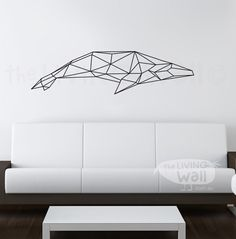 Geometric Whale Wall Decal, Geometric Whales Decals, Whale Home Decor Wall…