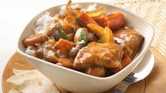 Take slow cooker pork stew far east with Asian ingredients including water chestnuts, bamboo shoots and hoisin sauce. Ladled over rice, it's a complete meal.