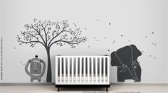 Modern Baby Zoo Wall Decal Mural by LittleLion Studio - Tree, elephant and Lion - Striking color combos that really work by LeoLittleLion on Etsy https://www.etsy.com/listing/128557396/modern-baby-zoo-wall-decal-mural-by