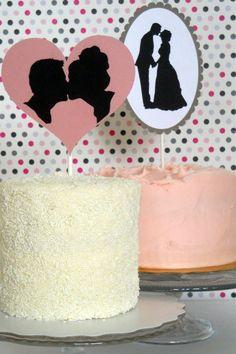Single-tier wedding cakes with silhouette toppers. So cute!