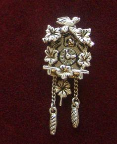 Cuckoo Clock Silver Charm, 800 Silver Chalet Style Cuckoo Clock, Charming Detail