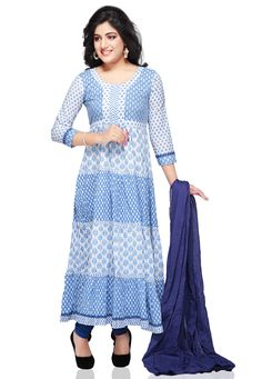 #OFF WHITE AND LIGHT BLUE #COTTON READYMADE  #ANARKALI SUIT
