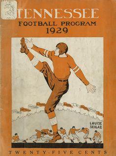 Vintage football programs as wall art.