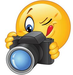 Illustration of Emoticon taking a photo vector art, clipart and stock vectors.