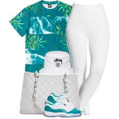"""06.18.14 #OOTD RETRO 11 AQUA ~ Brianna { Out with the Bae and bubba"" by vintagetrillbrat on Polyvore"