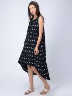 Buy Black Ivory Double Ikat Handloom Cotton Dress with Round Hem Women Dresses Twice the kurtas pants and more Online at Jaypore.com