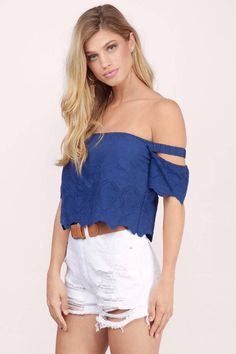 Designed by Tobi. The Sunset Beach Eyelet Crop Top features off the shoulder and detached sleeves. Cropped at the waist with a flowy body. Perfect to  - Fast & Free Shipping For Orders over $50 - Free Returns within 30 days!