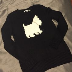 Black Chic Sweater Fun black sweater with Yorkshire terrier on it. Rhinestoned collar. Missing no rhinestones. Perfect condition. BNWOT LC Lauren Conrad Sweaters Crew & Scoop Necks
