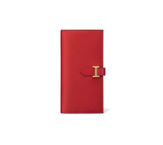 """Béarn Hermes wallet with gusset in Casaque red Epsom calfskin and lined with lambskin 3.5"""" x 7""""<br />Gusset expands to 0.75"""", gold plated 'H' tab closure, 5 credit card slots, 4 additional pockets, change purse with zipper"""