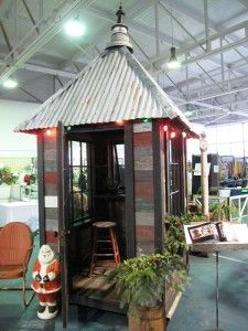 square shed, metal roof, salvaged material