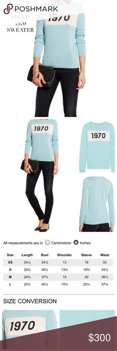 BELLA FREUD 1970 COTTON SKY BLUE SWEATER BELLA FREUD 1970 COTTON SKY BLUE SWEATER. Bella Freud's cult '1970' sweater designed for a slim fit is knitted from cotton in a fine knit sky blue is perfect for any season. Pair it with denim for a casual look. Material: 100% Cotton. Color: Sky Blue, White & Black. Size: Small. Sold Out! Condition: Excellent BELLA FREUD Sweaters Crew & Scoop Necks
