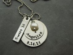 Sweet 16 Personalized hand stamped stainless by ajscustomjewelry