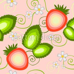 Süße Erdbeere Nahtloses Vektor Muster by Tetiana Prekrasna at patterndesigns.com Vektor Muster, Surface Design, Tasty, Patterns, Character, Vectors, Floral Patterns, Strawberries, Block Prints