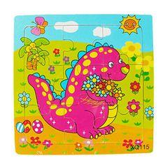 สินค้าราคาพิเศษ ช่วงนี้เท่านั้น Sanwood Kid's Multicolor Wooden 9 Pieces Jigsaw Puzzle Toy Dinosaur (Intl) สินค้าคุณภาพดี ราคาถูก พร้อมส่งทันที