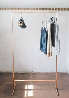 Tall Light & Airy Copper Pipe Clothing Rail / Garment Rack / Clothes Storage