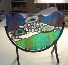 """Stained Glass Sculpture """"The River"""" Agate Geodes Home and Garden - Want!!"""